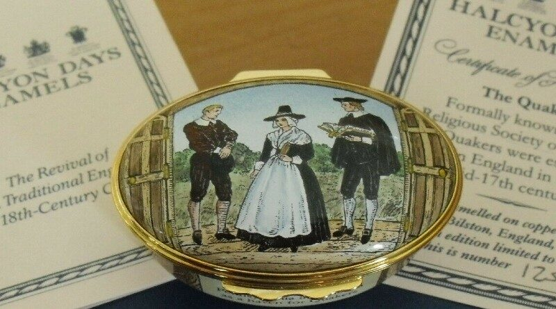 Limited Edition Halcyon Days The Quakers Enamel Box